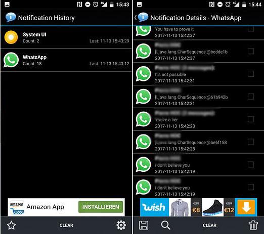 Vuoi leggere i messaggi cancellati di WhatsApp? Scarica Notification History