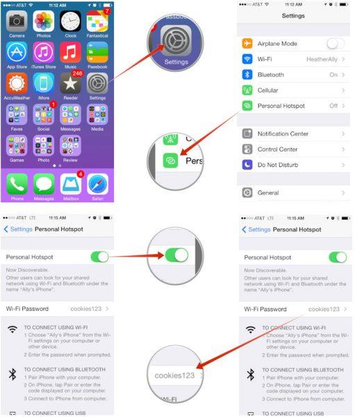 Istruzioni per cambiare password hotspot su iPhone