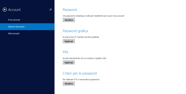 Finestra di Opzioni di accesso delle impostazioni Account di Windows 8