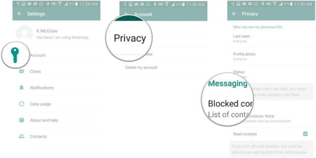 screenshot whatsapp con step per bloccare numero