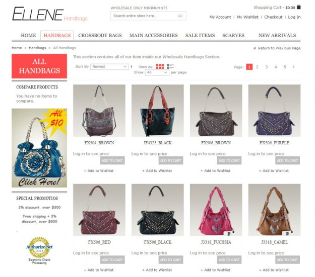 Wholesale Handbags at Ellene Handbags