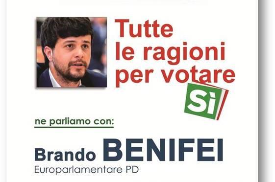 Referendum: giovedì 1 dicembre incontro con Brando Benifei (europarlamentare PD)