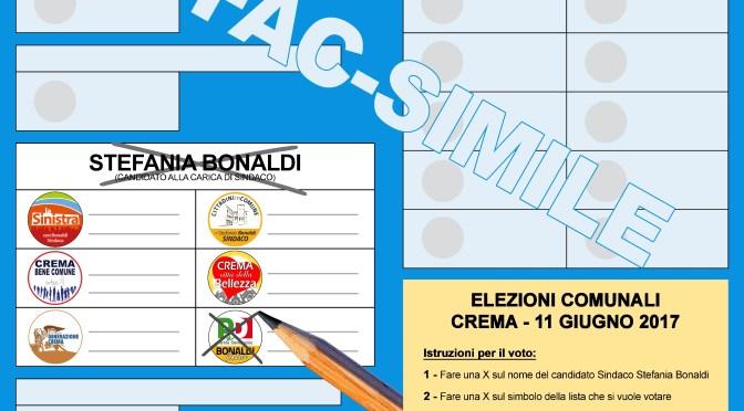 Elezioni comunali di Crema: domenica 11 giugno vota Stefania Bonaldi e la lista del Partito Democratico