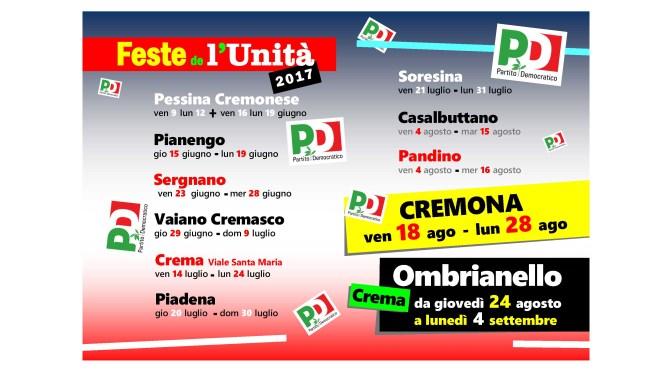 A fine giugno al via le Feste de l'Unità di Sergnano e Vaiano Cremasco