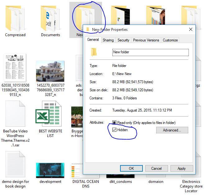 Hide folder in Windows 10