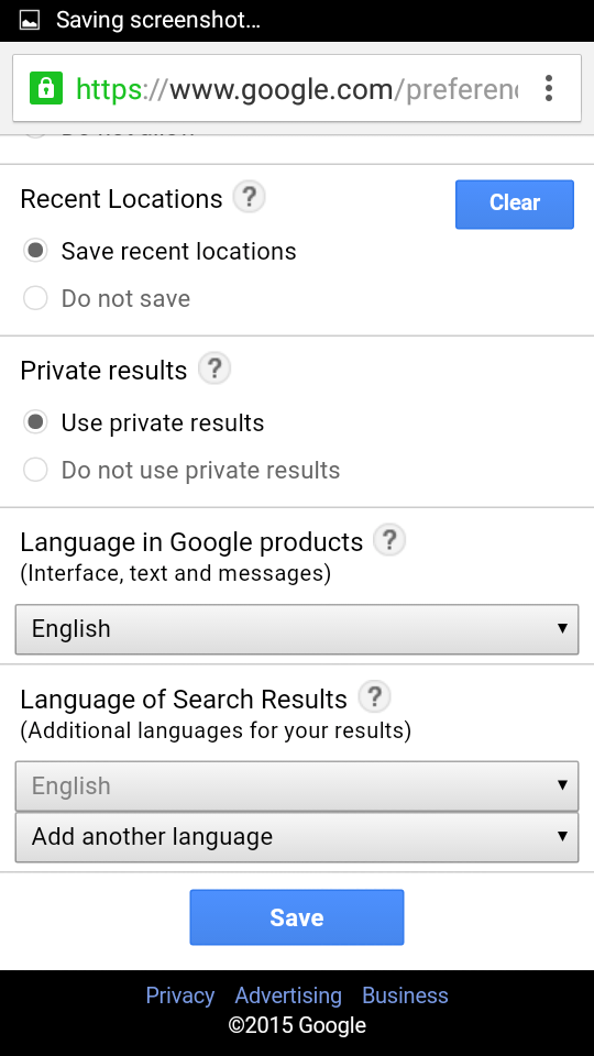How can I keep Google from changing my language settings for search result in Android Device