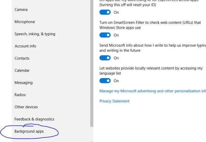 Stop Running Apps in Windows 10