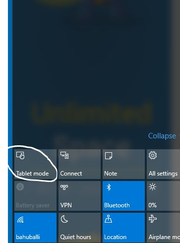 How to manually enable tablet mode in Windows 10