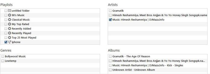 select the artists, albums, playlists or genres
