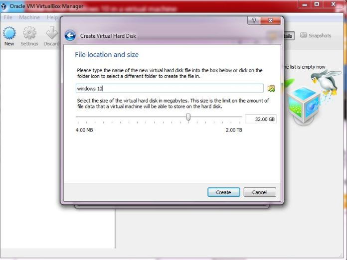 name the drive and allocate it size on vm