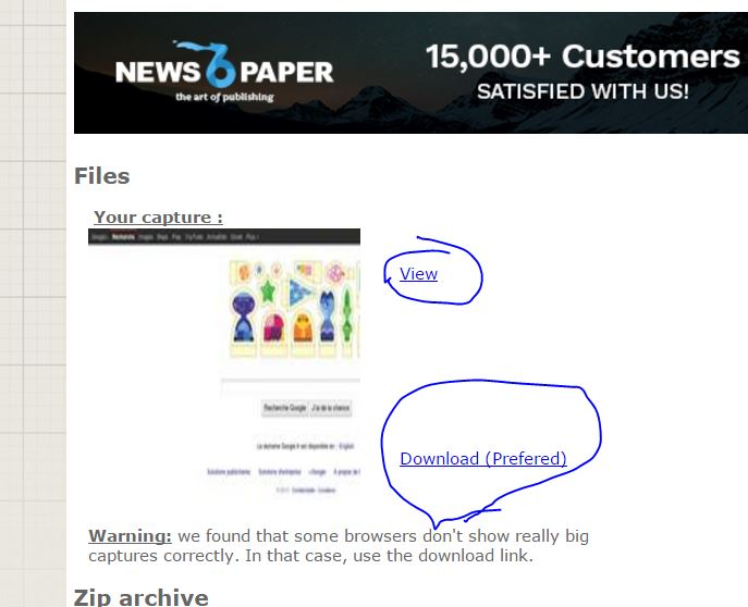 Capture and Download Screenshot of any website webpage