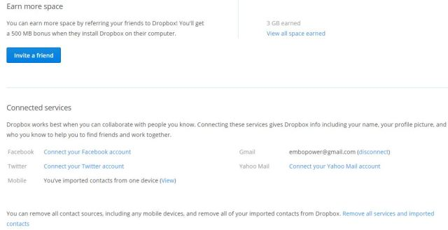 Connect Facebook and Twitter account with DropBox