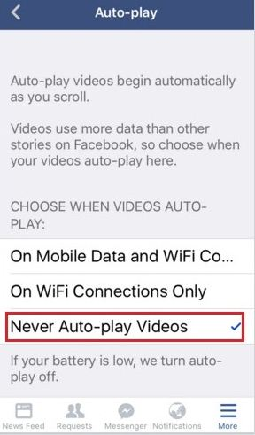 Disable Facebook Autoplay Video on iPhone