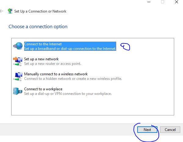 Create new Dial up in Windows PC
