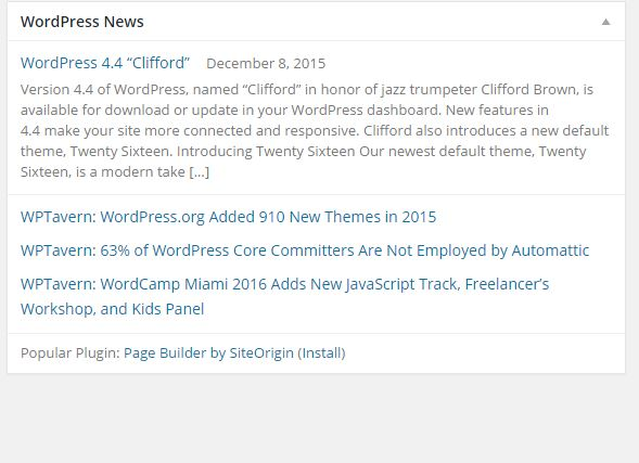 How To Remove The WordPress News Dashboard Widgets
