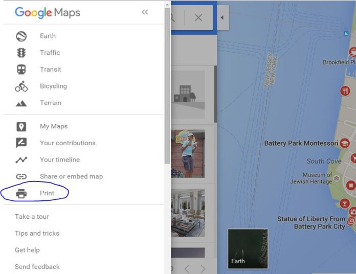 Print the map and directions Of Google Maps