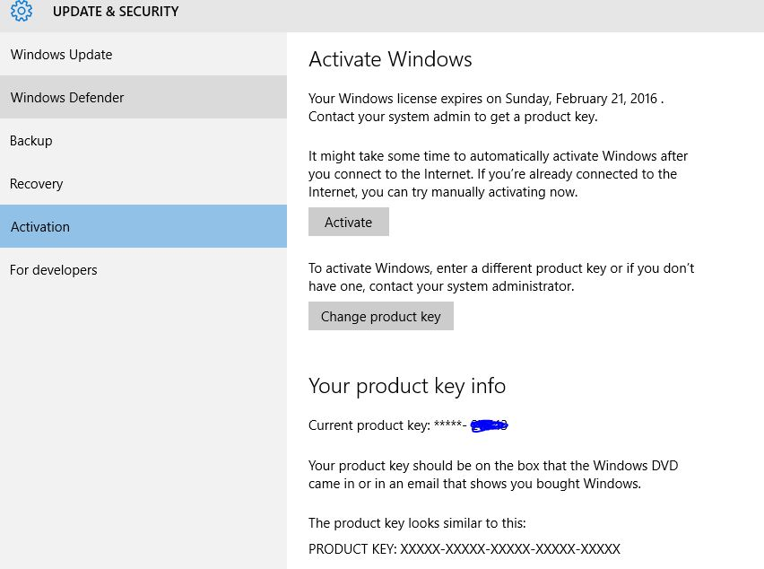 Product Key - Change in Windows 10 - Windows 10