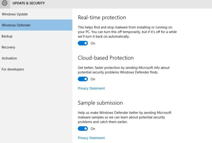 Windows 10 - Protect your PC using cloud based security