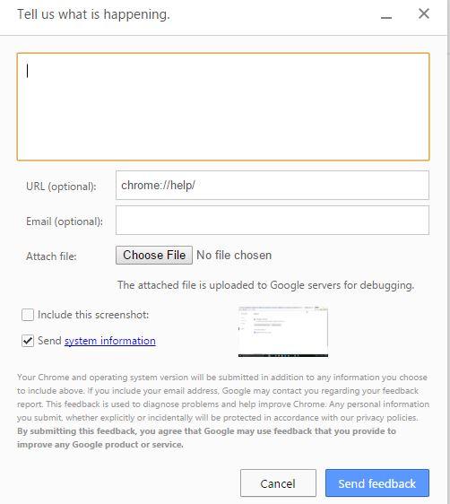 How to Send your Google Chrome Browser Error to Google Chrome Development Team