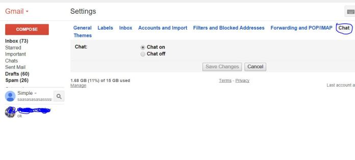How to Turn on and Off Gmail Live chat option