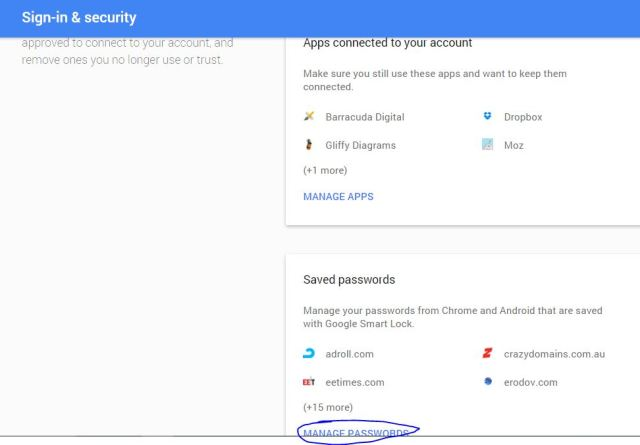 Manage, remove all saved password from Your Gmail account setting