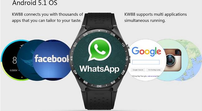 KingWear KW88 3G Smartwatch Phone - Most Important Features