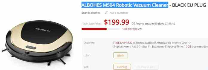ALBOHES M504 Robotic Vacuum Cleaner GearBest $50 Coupon Code