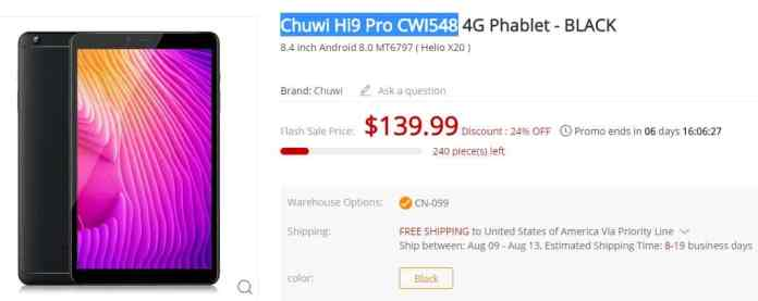 Chuwi Hi9 Pro CWI548 Coupon Code + Flash Sale GearBest