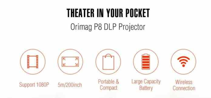 Orimag P8 DLP Small Home Pocket Projector $15 Coupon Code
