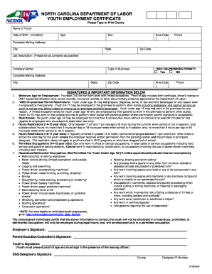 2004-2018 Form NC Youth Employment Certificate Fill Online ...