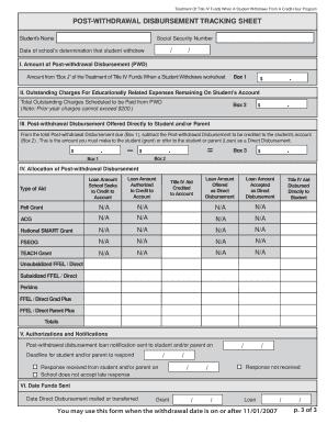 Post Withdrawal Disbursement Tracking Sheet
