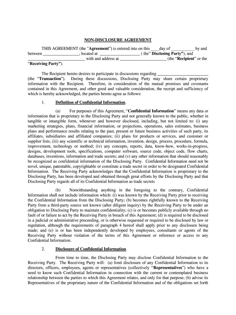 This agreement will be effective as of the effective date and will continue for (change this: Non Disclosure Non Disclosure Fill Online Printable Fillable Blank Pdffiller