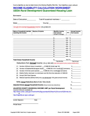 Usda Income Calculation Worksheet