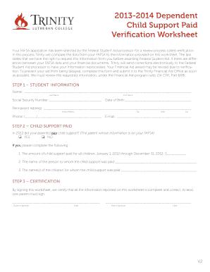 Dependent Verification Worksheet Online