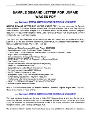Sample Demand Letter For Unpaid Wages