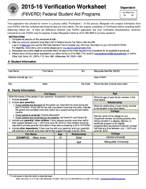Fillable Online Marquette Verification Worksheet