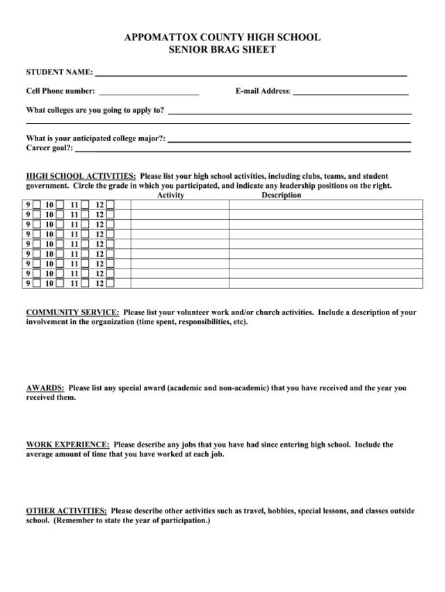 Brag Sheet - Fill Online, Printable, Fillable, Blank  pdfFiller