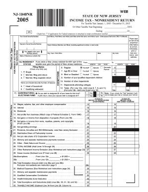 Fillable Online 2005 Form NJ 1040-NR - Free Online Tax ...
