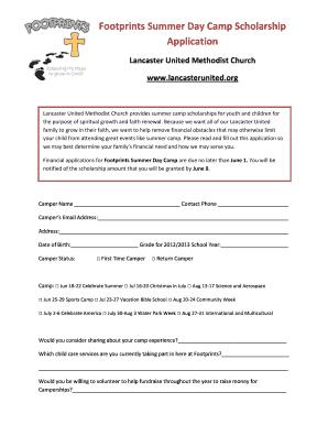 summer camp scholarship application template holliddays co