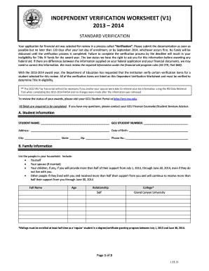 Fillable Online Gcu Independent Verification Worksheet V1