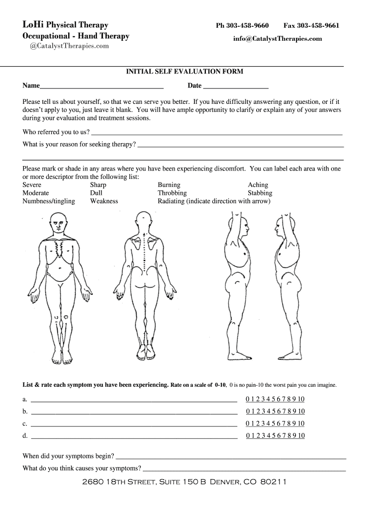 Click on the get form option to begin enhancing. Lohi Physical Therapy Initial Self Evaluation Form Fill And Sign Printable Template Online Us Legal Forms