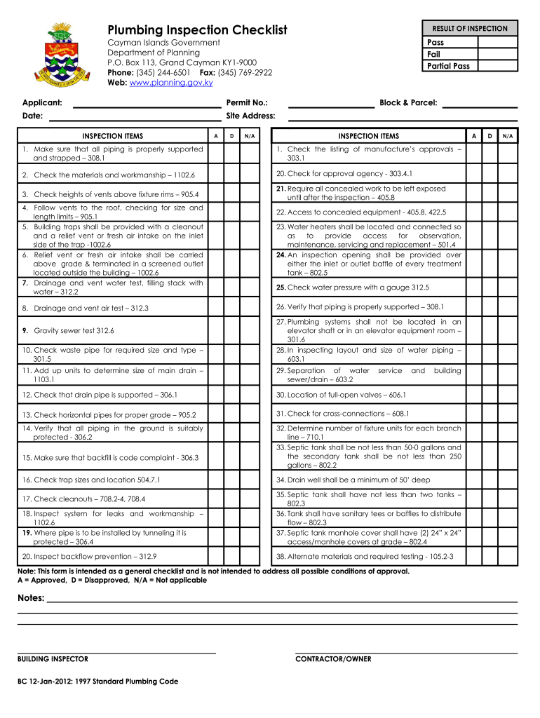 Insurance looking for plumbers report can i write one. Plumbing Checklist Template Fill Online Printable Fillable Blank Pdffiller