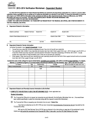 Fafsa Independent Student Verification Worksheet Patrick