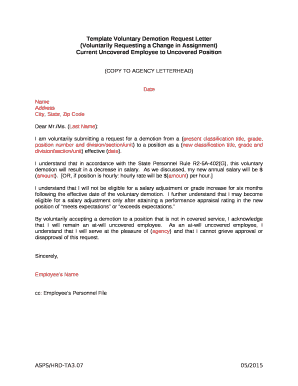 Voluntary Demotion Letter Doc Template