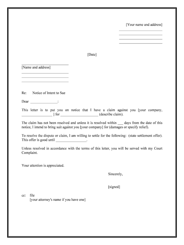 Letter Intent Sue - Fill Online, Printable, Fillable, Blank