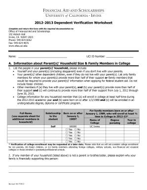 Dependent Verification Worksheet From Ofas