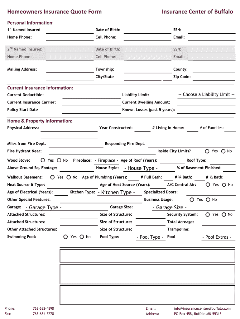 Experience the power of online forms! Insurance Quote Form Pdf Fill Online Printable Fillable Blank Pdffiller