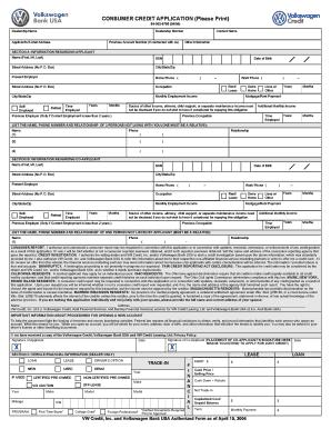 2007 2019 Form VW Consumer Credit Application Fill Online Printable Fillable Blank PDFfiller