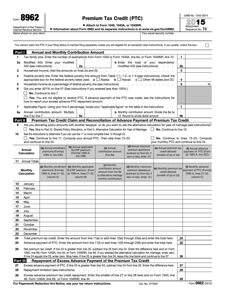 Printable Irs Form 8962 2015