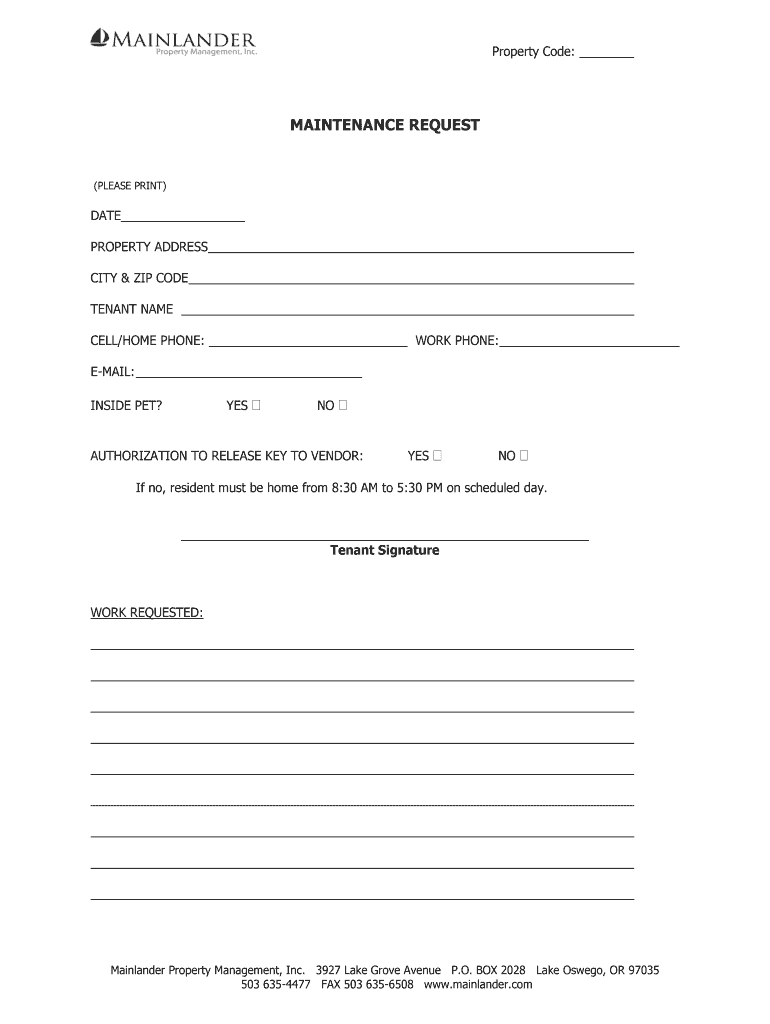 Free to download and print. Or Mainlander Maintenance Request Fill And Sign Printable Template Online Us Legal Forms